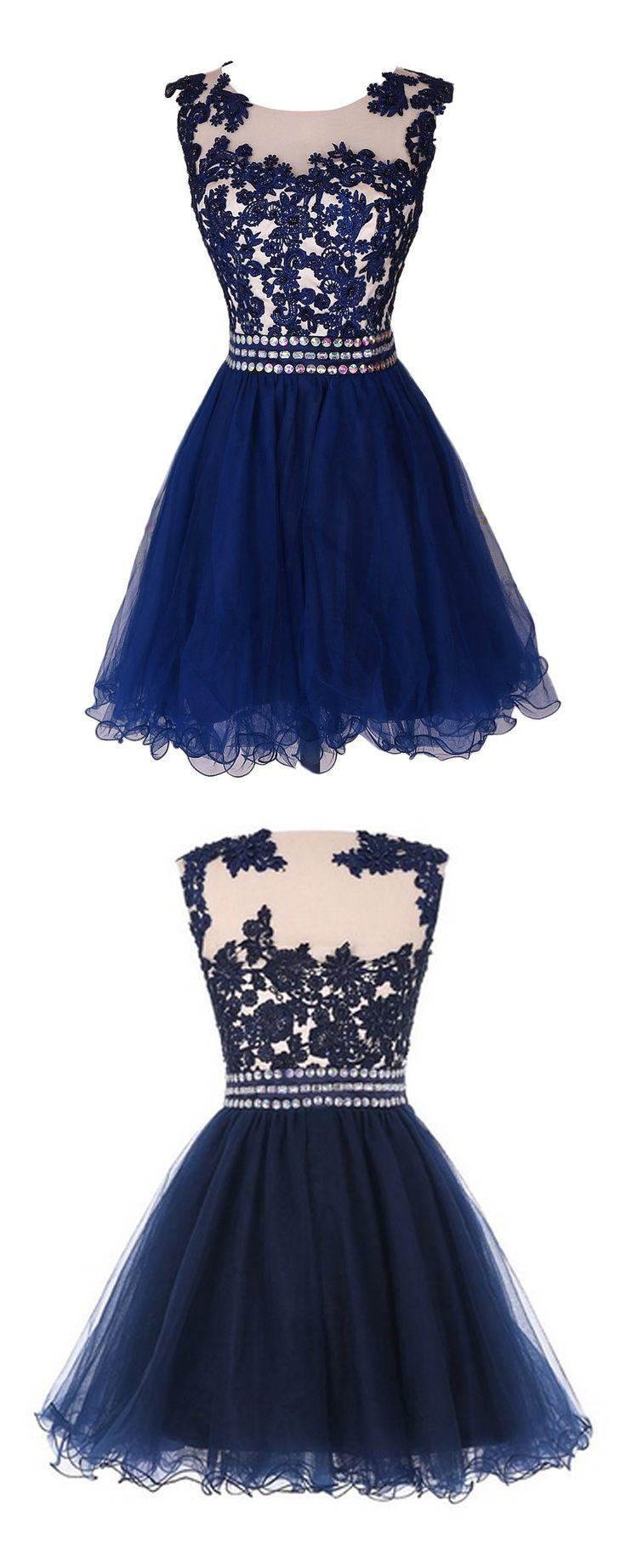 Navy Blue Lace Short Prom Dress Homecoming Dress Dresses