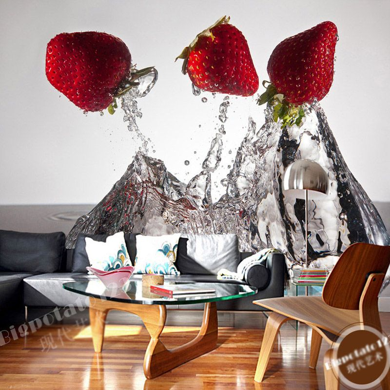 Room Strawberry Photo Wallpaper Water Wall Mural