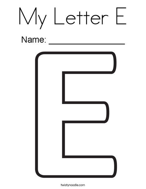 My Letter E Coloring Page Twisty Noodle Alphabet Coloring