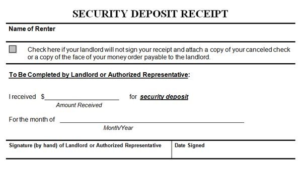 SecurityDepositReceipt  Deposit    Receipt Template