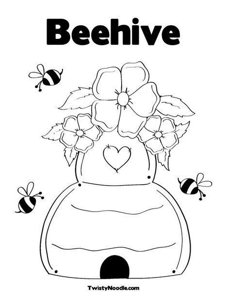 Beehive Coloring Page From Twistynoodle Com Simple Coloring Page