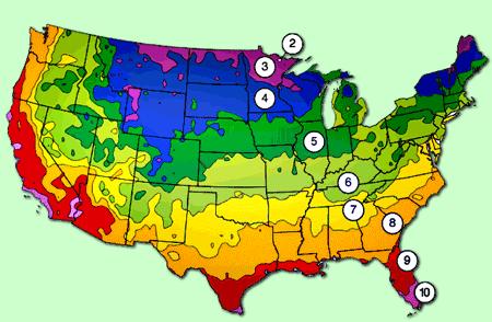 GARDENING ZONES For US Garden Textures Pinterest Gardening - Map of growing zones in the us
