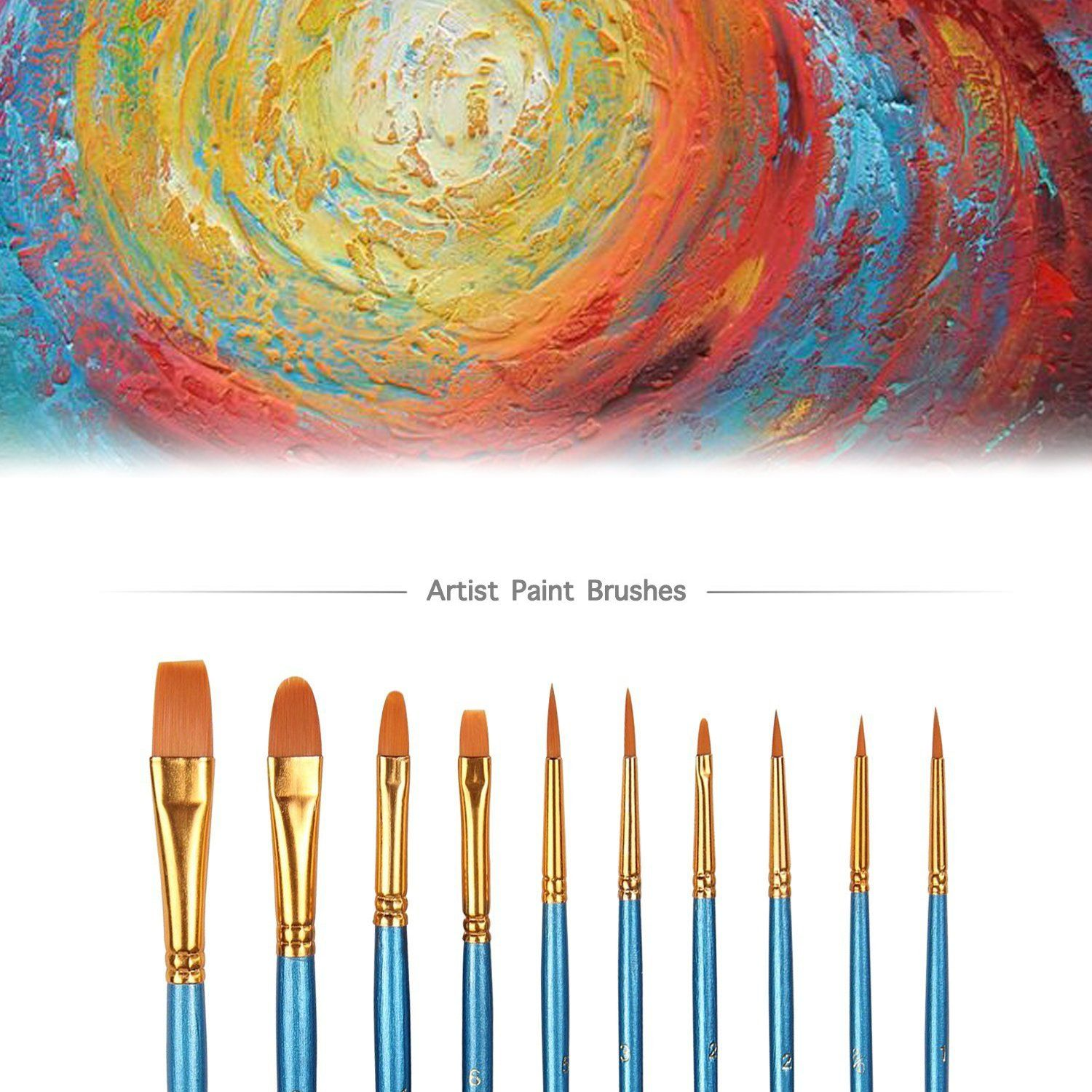 Aook 10 Pieces Paint Brush Set Watercolor Brushes Professional