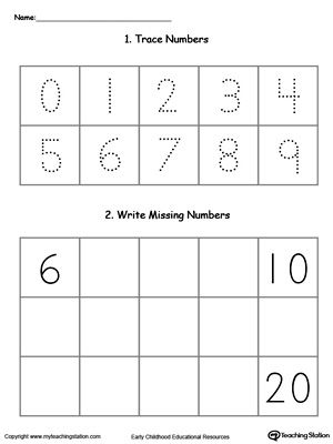 Trace And Write Missing Numbers 6 Through 20 Worksheets Number