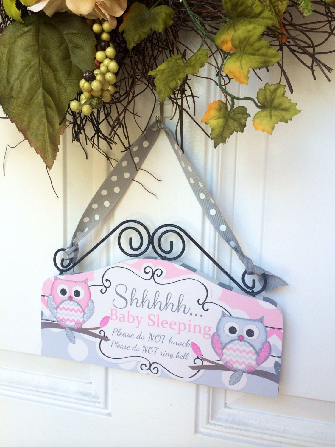 Baby Sleeping Sign Cute Owls Pink And Gray Door Sign Shhh Baby