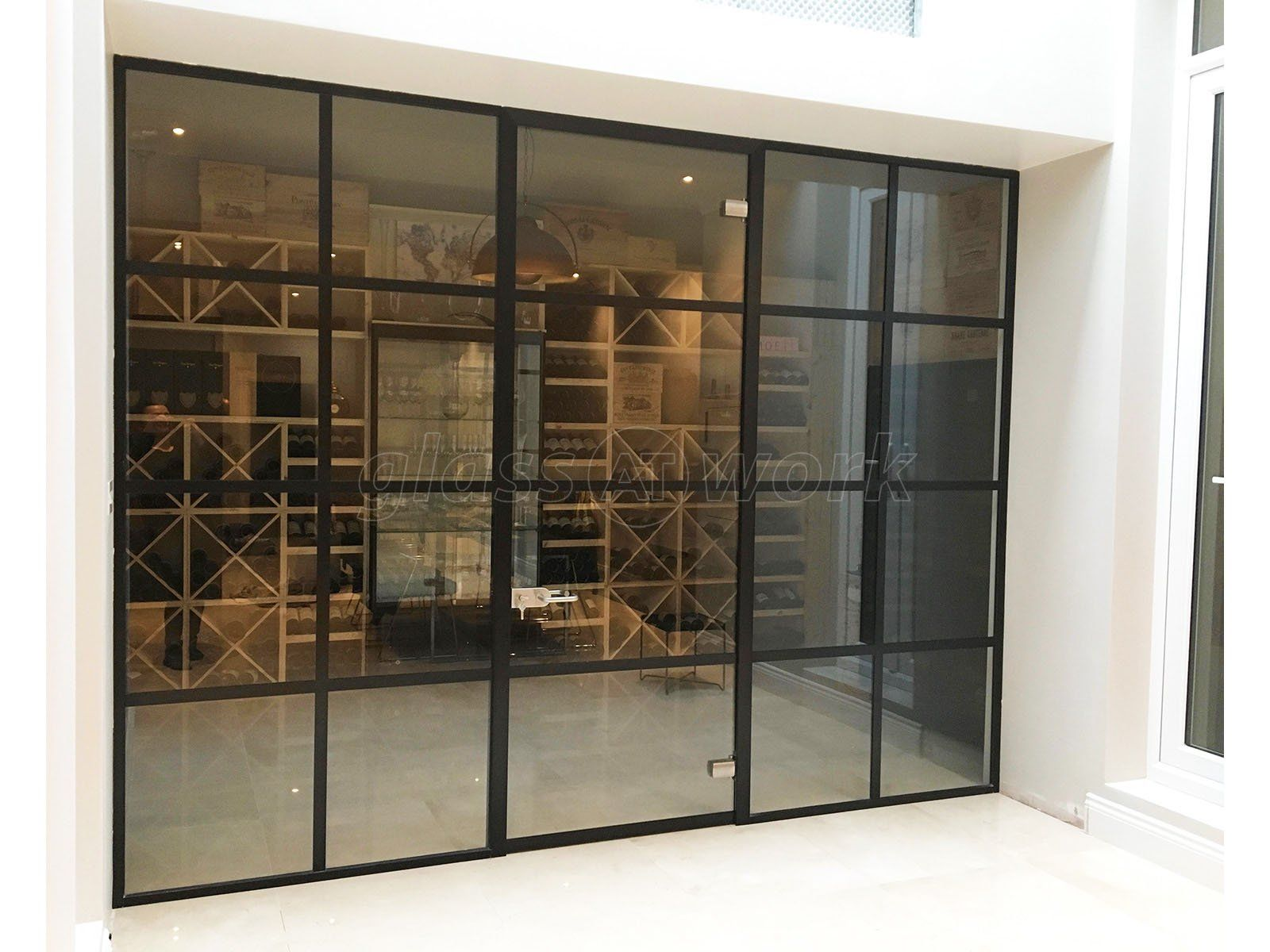 Black Framed Industrial Factory Style Glass Partition Wall Door For A Domestic Project In Fulham London Glass Partition Wall Partition Wall Glass Partition Domestic room divider walls