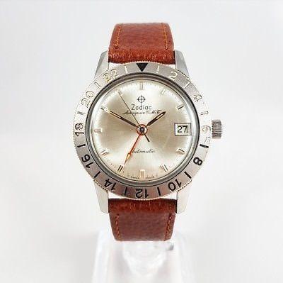 4aa278800aaa RARE 1960s Zodiac Aerospace GMT Automatic 752-925 Vintage Watch ...