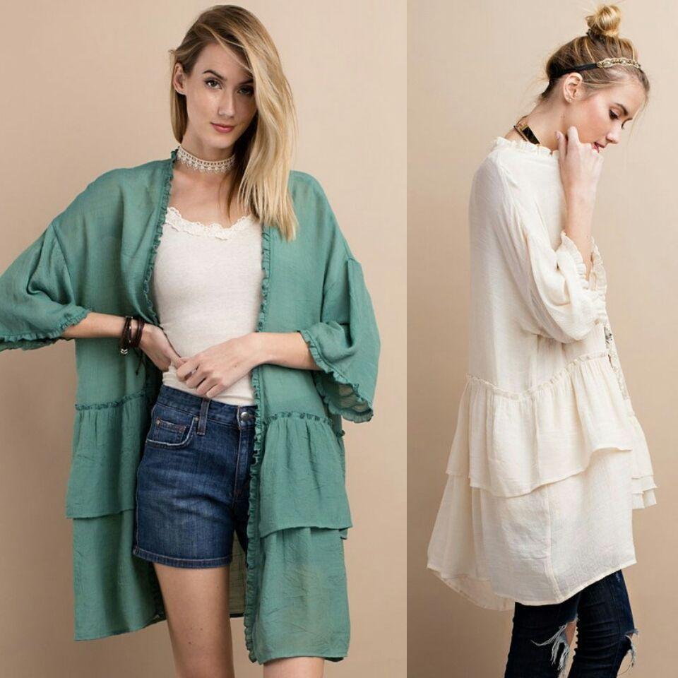easel short Sleeve CARDIGAN Ruffle Hem Boho Chic kimono cover up ...