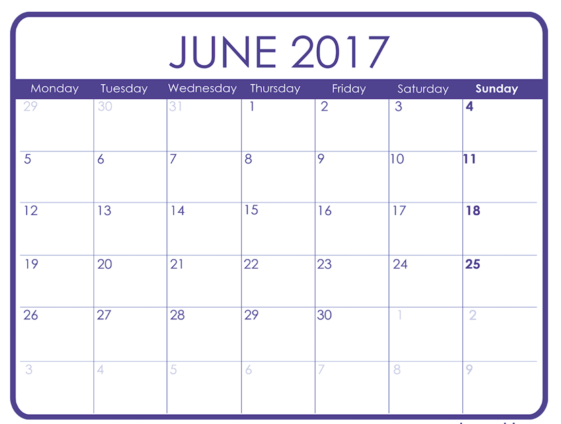 Free Printable Calendar For June   Calendar