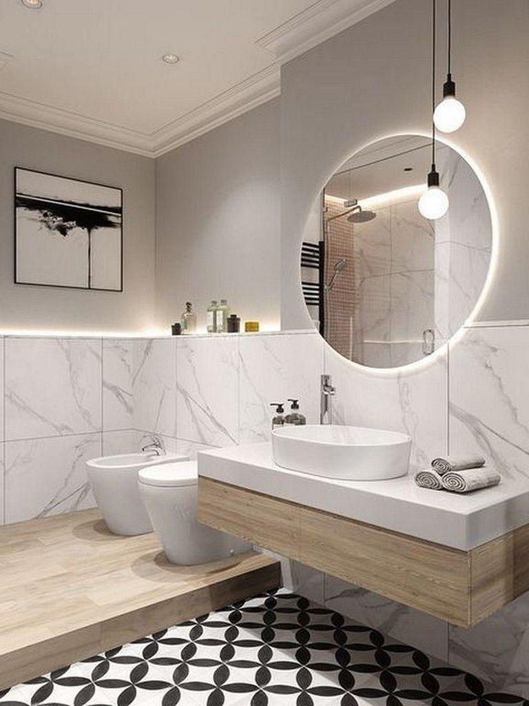 27 Cool Modern Round Mirror Designs For Bathroom Bathroom Bathroomideas Bathroomde Bathroom Design Inspiration Modern Bathroom Design Bathroom Tile Designs
