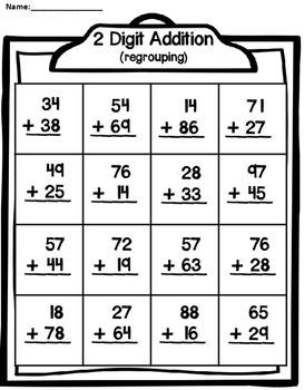 2 Digit Addition With Regrouping Distance Learning Math Methods Addition And Subtraction Kids Math Worksheets