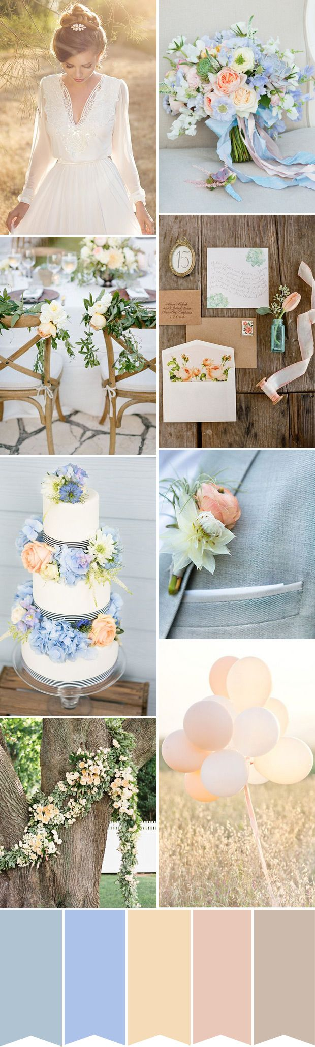 Wedding decoration ideas peach  A Pretty Palette for a Blue and Peach Wedding  Blue wedding colors