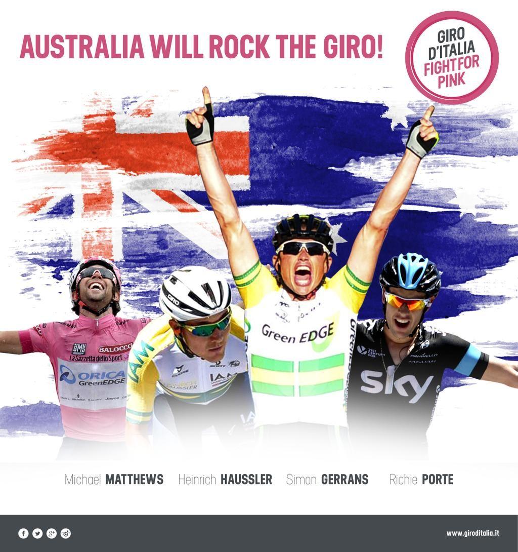 Giro d'Italia @giroditalia AUSTRALIA WILL ROCK THE #GIRO! pic.twitter.com/6IoR7fNvii