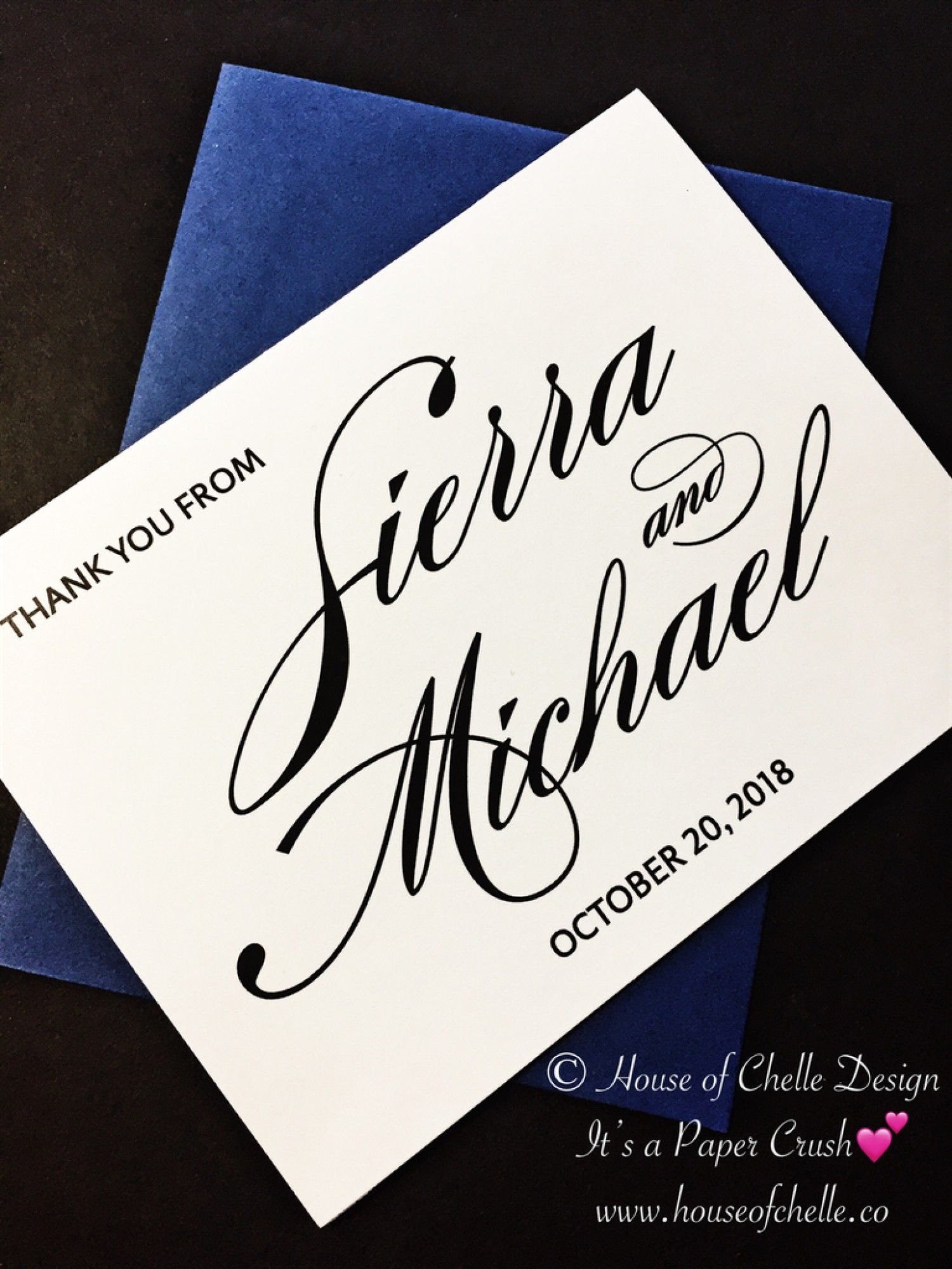Set of 20 Personalized Custom Wedding Name Mr Folded Notecard Stationery Stationary with Envelopes /& Mrs