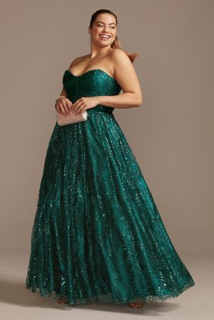 corset bodice plus size gown with glitter overlay  david