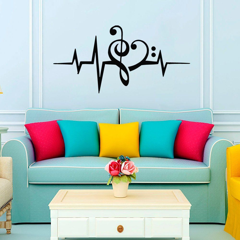 Wall Decals Heart Musical Notes Music Studio Treble Clef ...