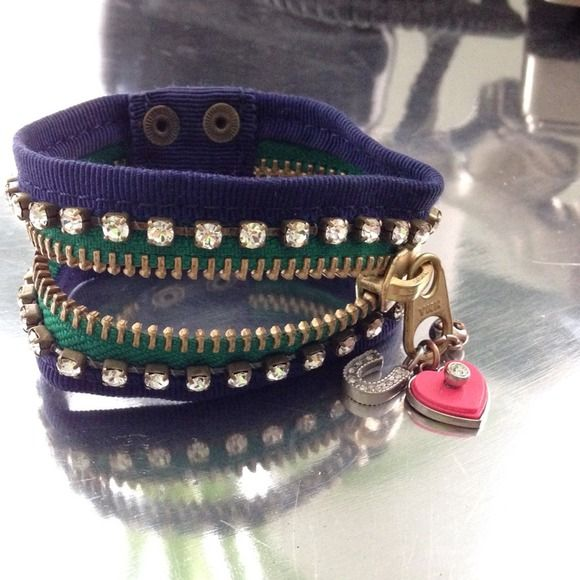 """Juicy Couture Zipper Cuff Cobalt blue, Kelly green, and rhinestone detail zipper cuff. Measures: 8.5"""" long x 1.25"""" wide. Juicy Couture Jewelry"""