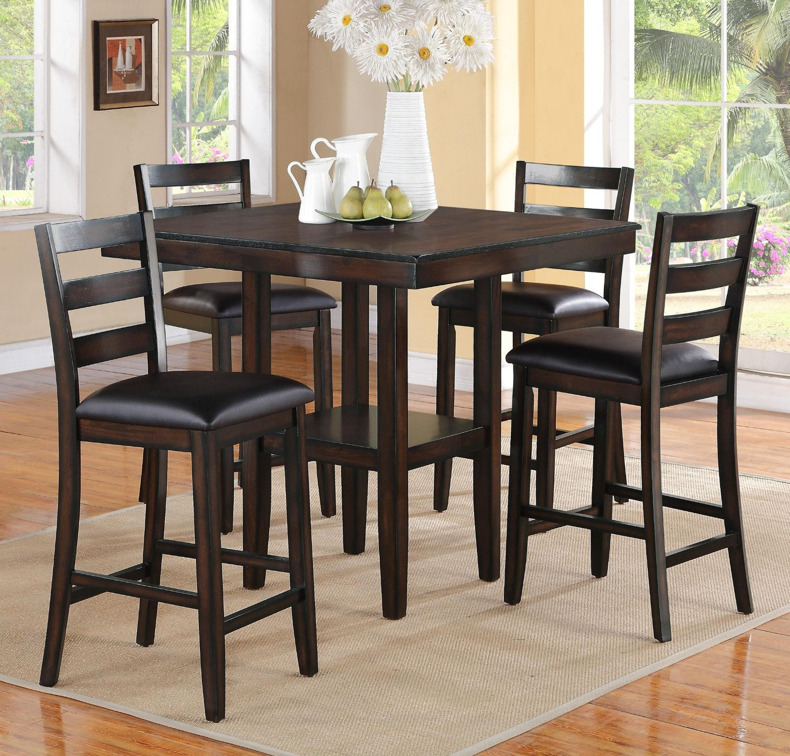 Tahoe 5pc Counter Height Dinette Set 429 Table 40 X 40 X 36 H Chair 17 X 17 X 39 Counter Height Dining Table Furniture Dining Table Chairs