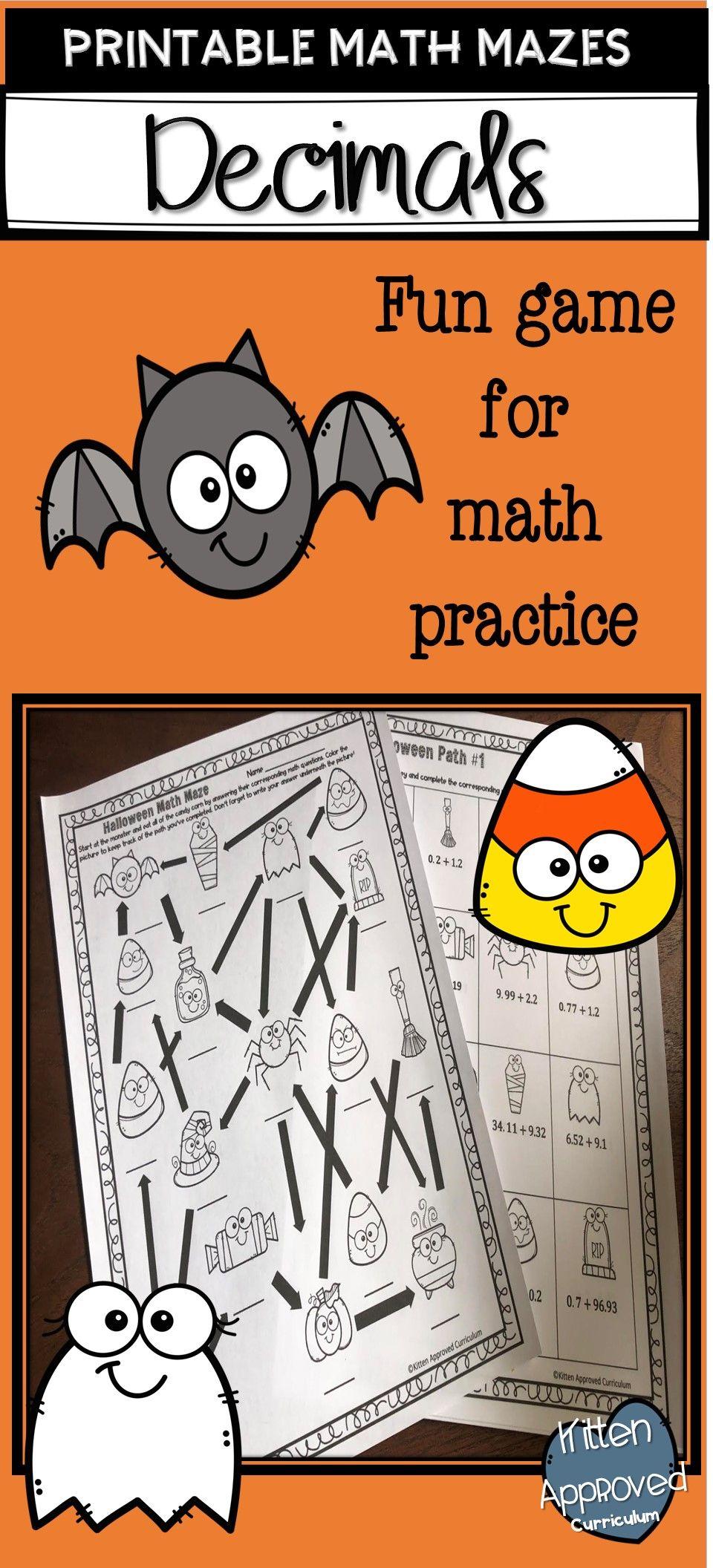 Halloween Math 5th Grade Add and Subtract Decimals Math