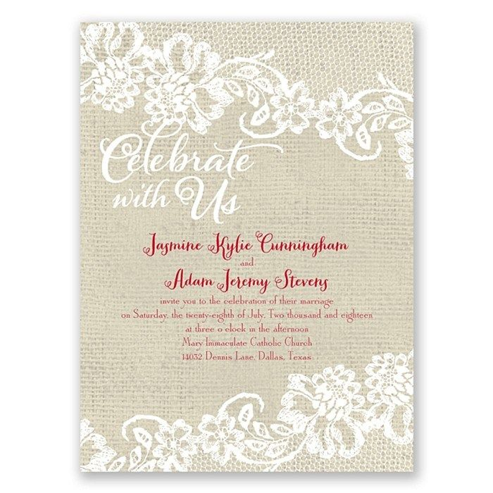 Burlap & Lace Invites by Ann's Bridal Bargains. Get an extra 15% off your wedding invitation order with code MBRIDE15 via @Mountainside Bride