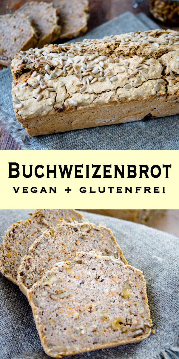 Buchweizenbrot (vegan + glutenfrei) mit Haferflocken, Chia Samen, Sonnbenblumenkerne, Walnüsse und frisch geriebene Karotte. Einfache Gesunde Rezepte - Elle Republic #glutenfree #bread #backen #brot #buckwheat #easy #recipe #lecker