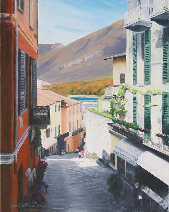 Bellagio Como, Italy - scenic landscape painting by Sue Birkenshaw   #realistic #art  #italy