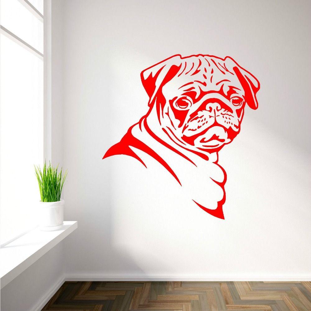 2016 New Wall Decals PUG DOG vinyl wall art room sticker