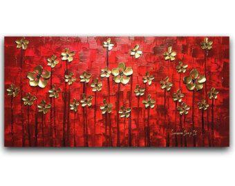 Resumen de tulipanes pintura paisaje ORIGINAL por ModernHouseArt