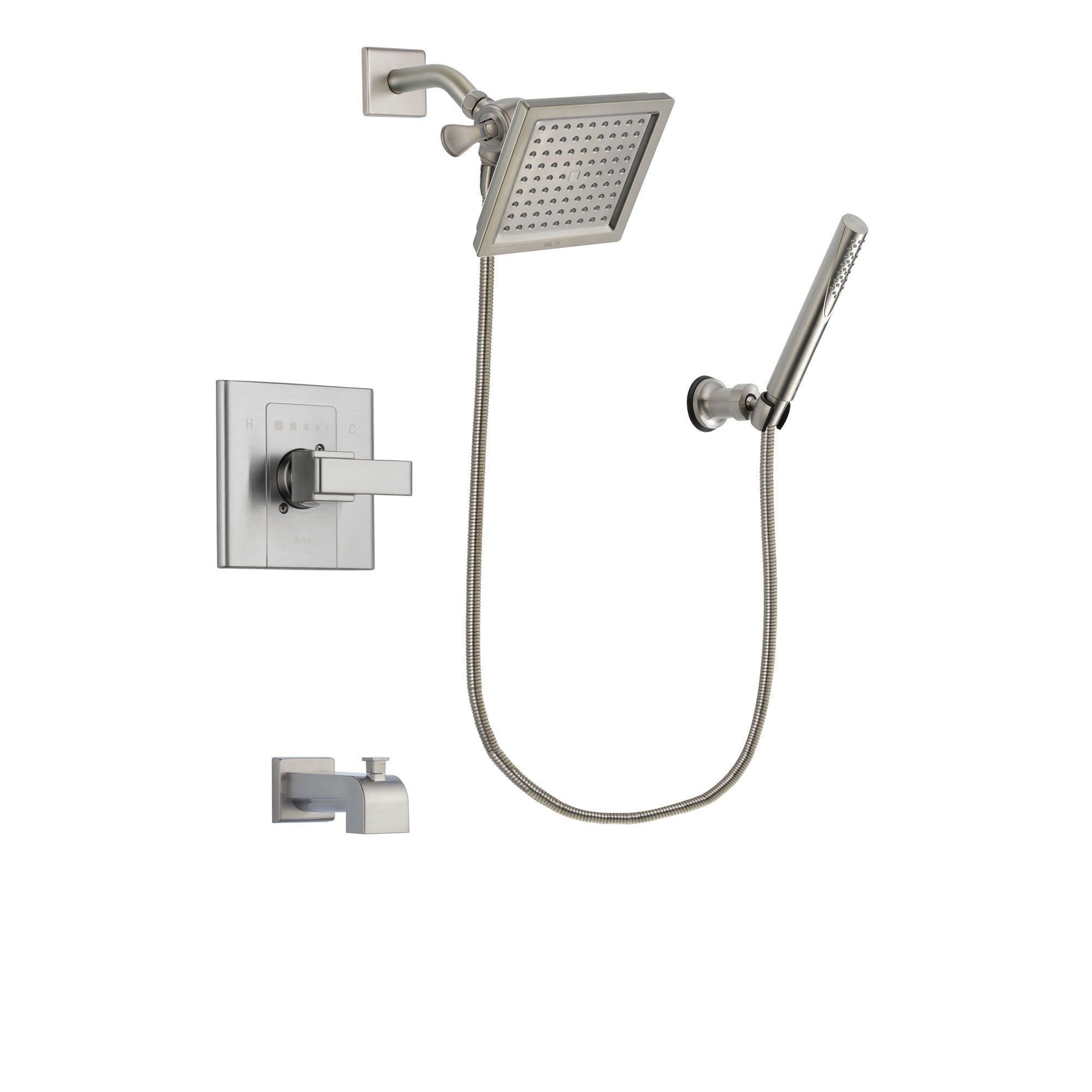 Delta Arzo Stainless Steel Finish Tub And Shower Faucet System