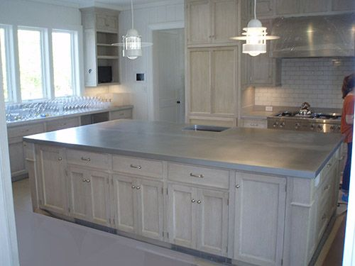 Large French Country Kitchen Island Zinc Countertop With Eased