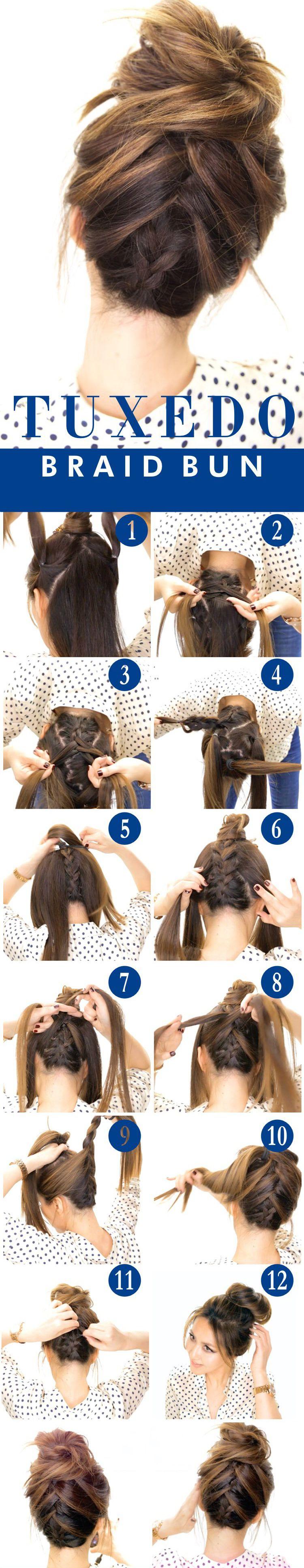 Tuxedo Braid Bun Beauty Hair Guides Pinterest