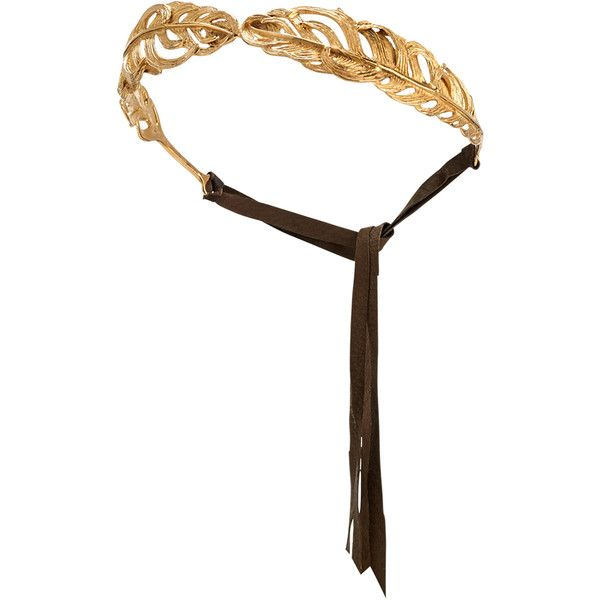 Madina Visconti di Modrone Golden Feather Headband (€865) ❤ liked on Polyvore featuring accessories, hair accessories, hair, headband, headwear, jewelry, gold, head wrap hair accessories, hair band headband and tie headbands
