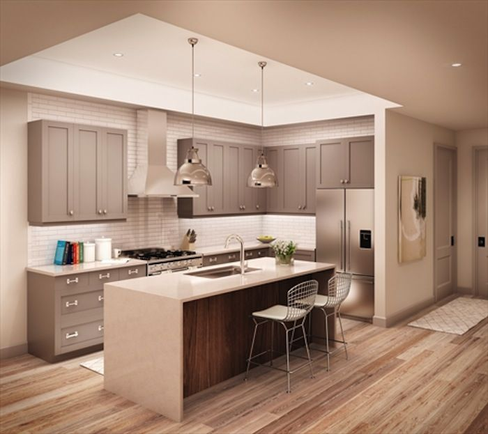 Shaker gray lacquer cabinets -Brooklyn, NY #kitchen # ...