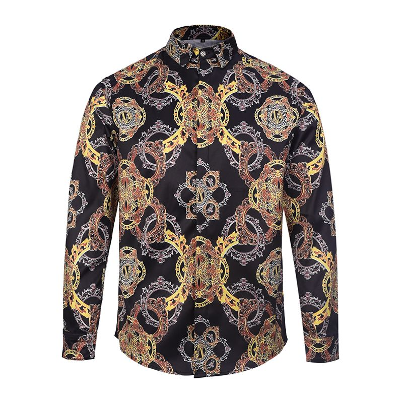72aeb407d43 Brand 3D Printed Shirts Men Gold Black Color Casual Fancy Fit Slim Dress  Shirt Camasia Social Masculina Homme Euro American