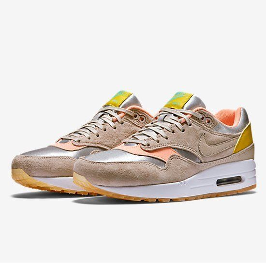 NIKE AIR MAX 1 PRM METALLIC SILVER SUNSET GLOW GREEN 454746 006 $160