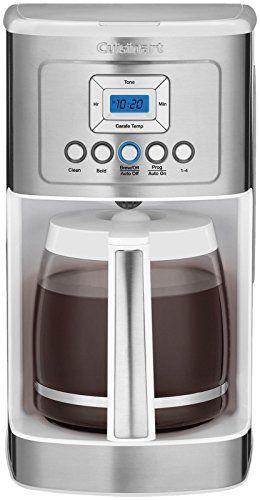 Amazon Com Cuisinart Dcc 3200w Perfec Temp 14 Cup Programmable Coffeemaker White Kitchen Dinin Cuisinart Coffee Maker Single Cup Coffee Maker Glass Carafe