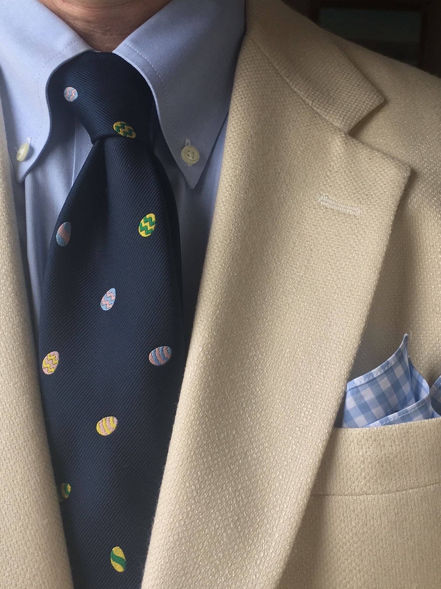 7fdbb7cd54a Brooks Brothers pinpoint Oxford shirt, vintage silk/wool-blend 3/2 jacket,  cotton gingham pocket square; Chippmunk Creations Easter egg emblematic tie.