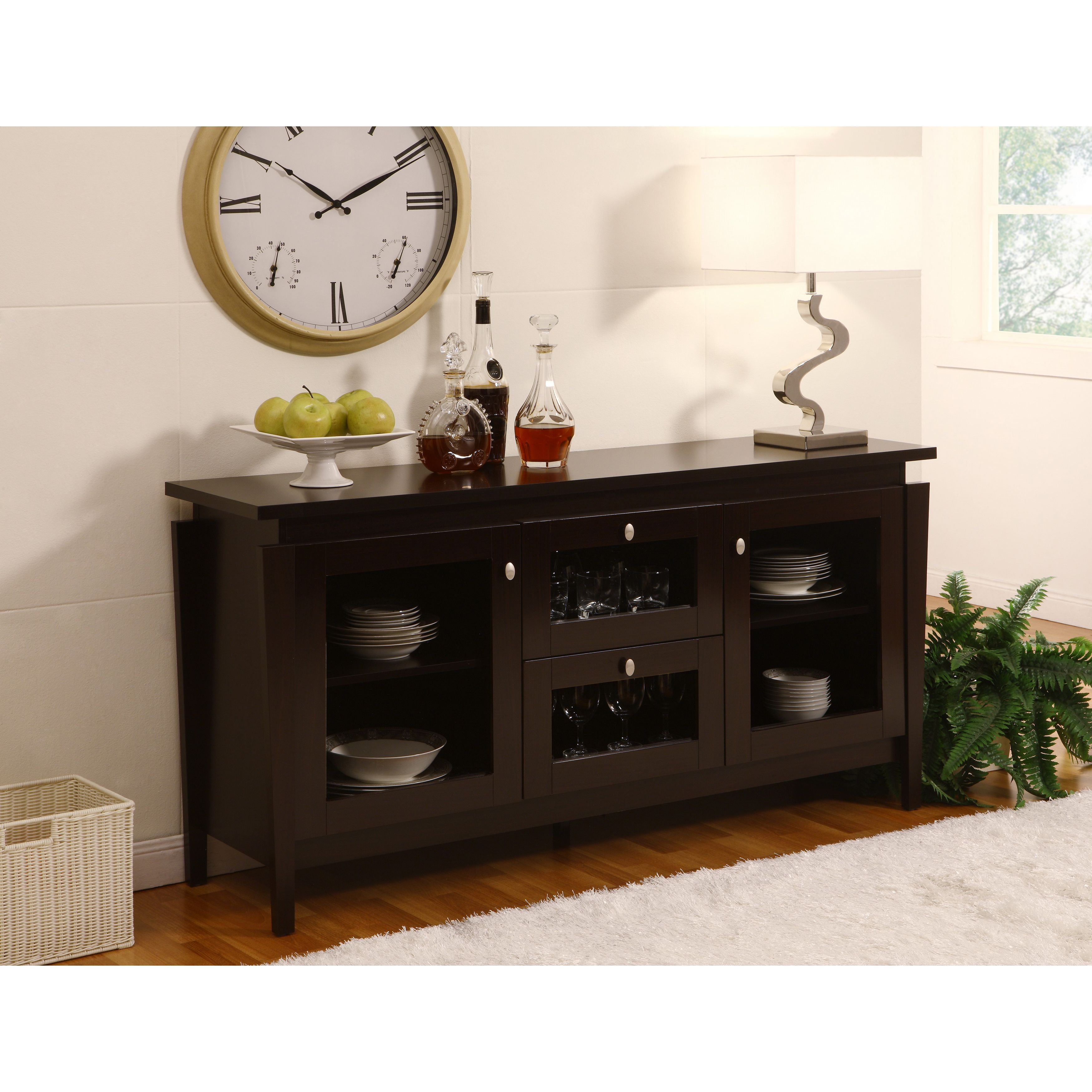 Charmant Give Your Dining Room More Space And Storage With This Contemporary Buffet  Cabinet. Featuring Four Cabinets With Glass Doors And An Elevated Top  Panel, ...
