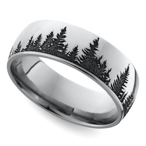 laser carved forest pattern mens wedding ring in cobalt image 01