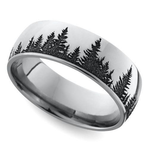 laser carved forest pattern mens wedding ring in cobalt - Wiccan Wedding Rings