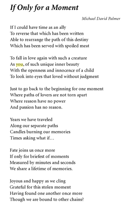 "If only for a moment... Poem by Michael David Palmer extracted from the book ""Hungers of the heart"""
