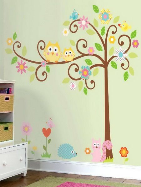 Kids Bedroom Tree colorful birds and tree wall murals in modern kids bedroom design