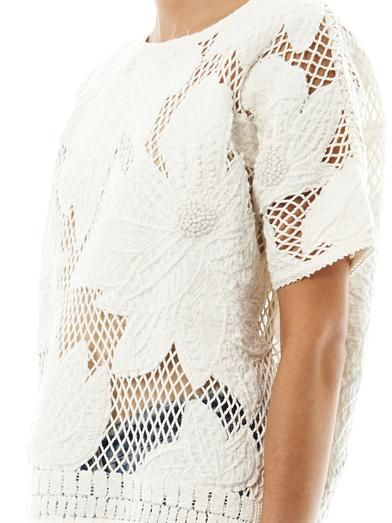 Isabel Marant Étoile Calice embroidered mesh sweatshirt ...