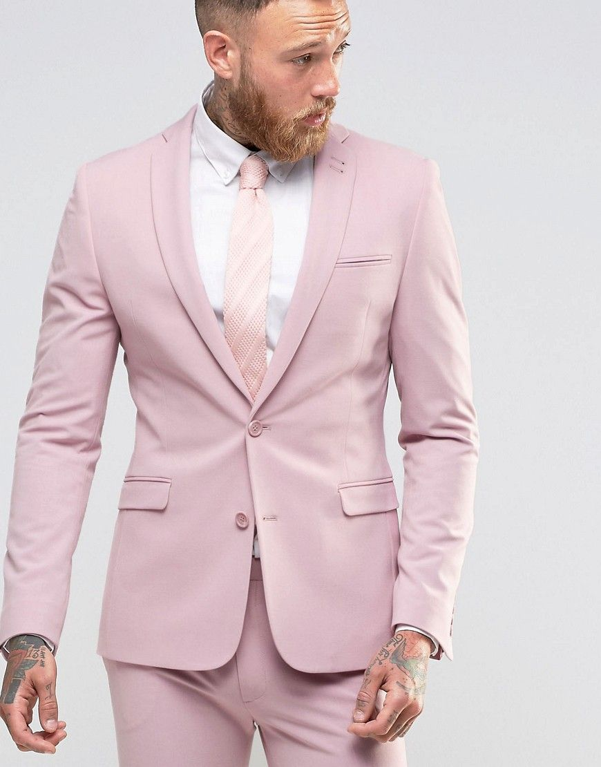 Super Skinny Fit Suit Jacket In Pink | Pink beach weddings, Beach ...