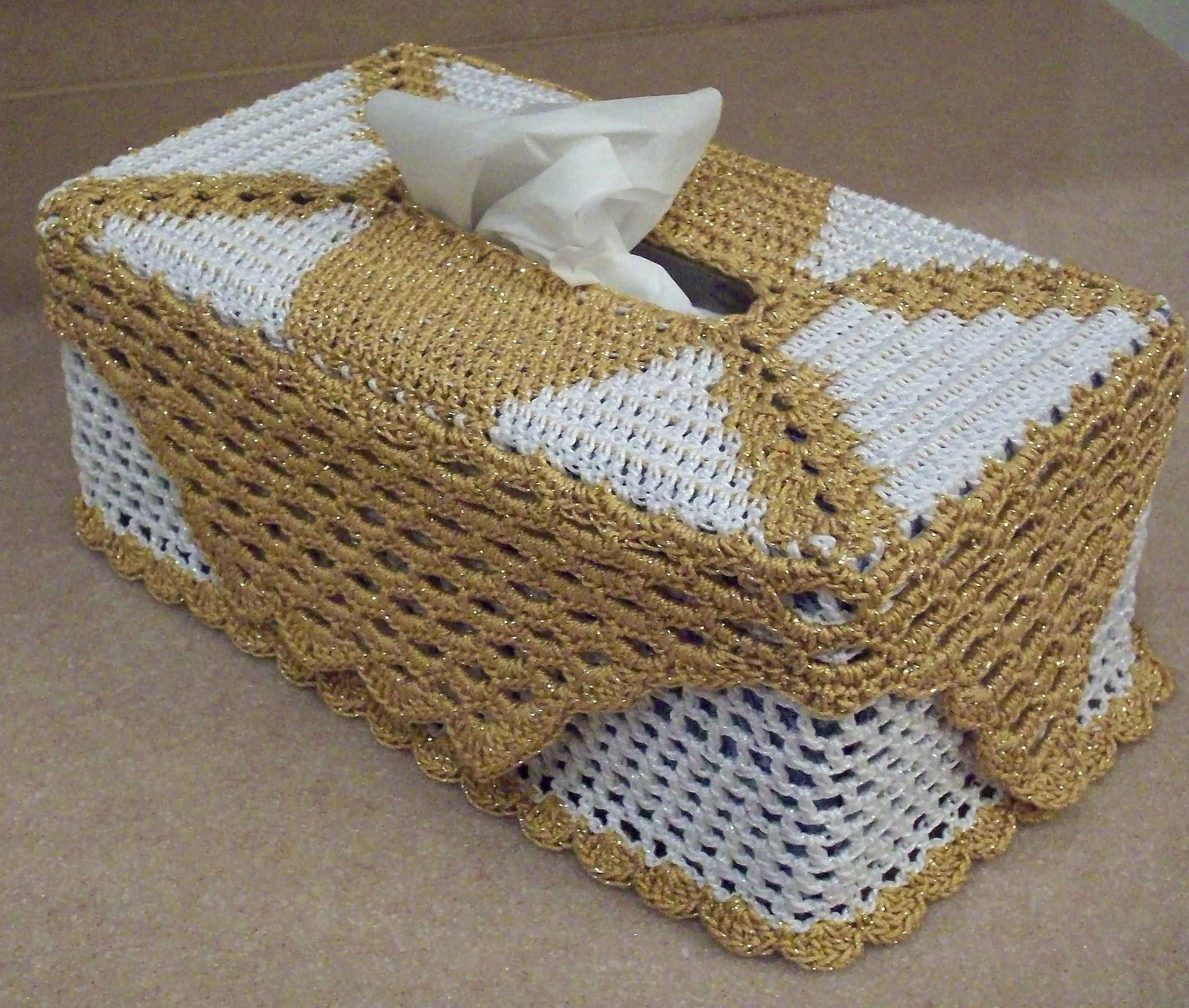 Large Crocheted Tissue Box Cover pattern by Richard Sechriest ...