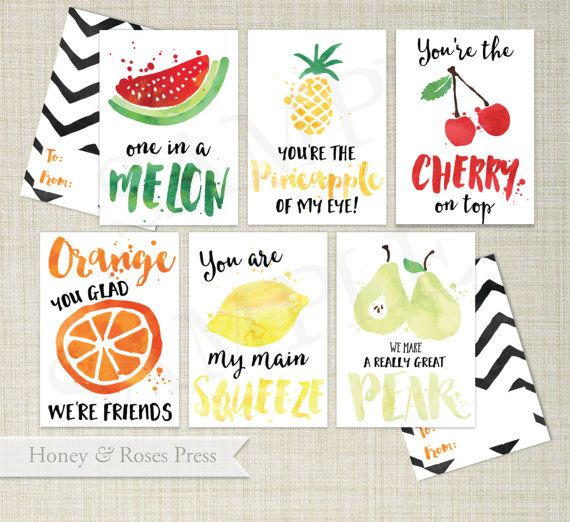Printable Fruit Valentines Day Cards Kids Valentines Cards – Food Valentine Cards
