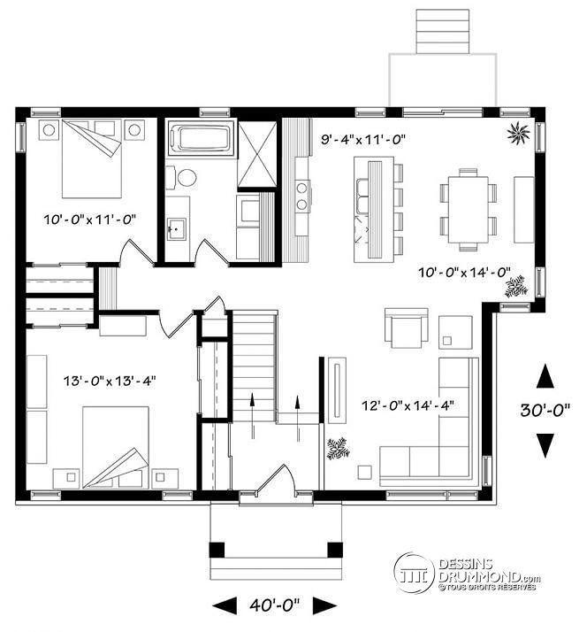 Plan de Rez-de-chaussée Plan de maison à entrée split, style
