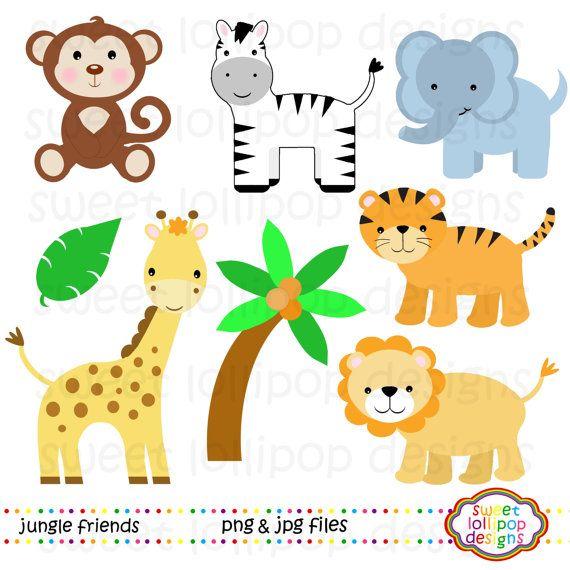 Jungle Animals Clip Art Zoo Animals By Sweetlollipopdesigns 5 00 Baby Zoo Animals Baby Jungle Animals Jungle Animal Baby Shower Theme
