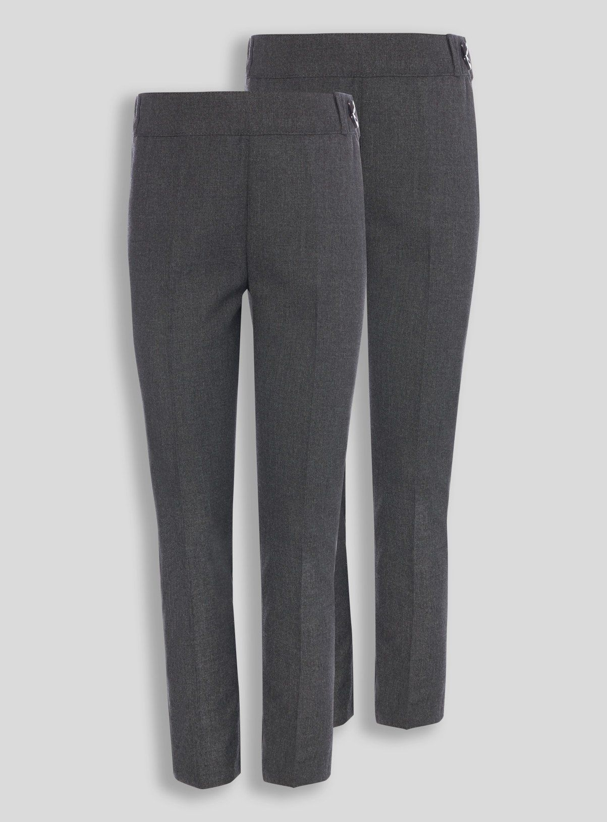 Designed in a plus fit with added crease resistance, these grey trousers are both smart and comfortable. Featuring stylish bow belt details, they are sure to make a welcome addition to their schoolwear range.Online exclusiveGrey plus fit trousers2 PackBow belt loopsTapered legUnder 5 years- Pull on trousers, Over 5 years- zip and clasp fasteningsCrease resistantKeep away from fire