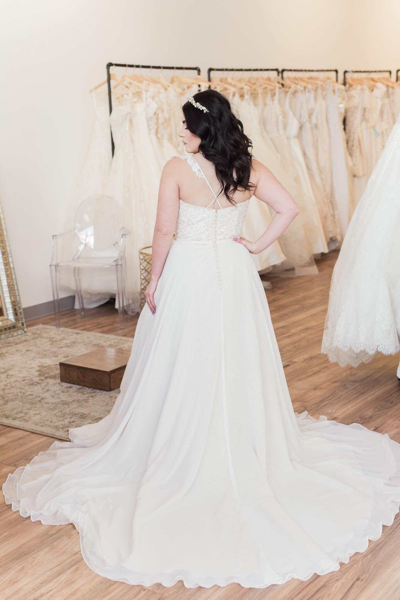 Flowy and whimsical aline wedding dress bridal shop decor ideas
